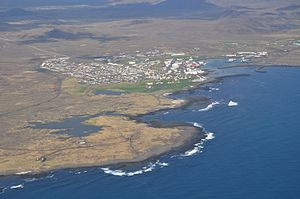 Grindavík - Grindavík from the air in May 2011.