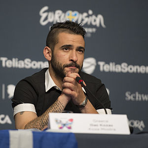 Koza Mostra - Lead singer Elias Kozas at a Eurovision Song Contest 2013 press conference.