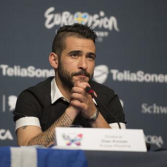 Koza Mostra - Lead singer Elias Kozas at a Eurovision Song Contest 2013 press conference.