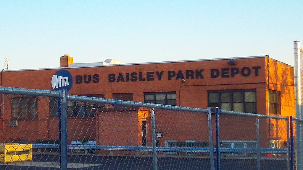 file image of baisley park bus depot at sunset in south