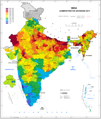 Demographics of India - Total fertility rate map: average births per woman by districts, 2011
