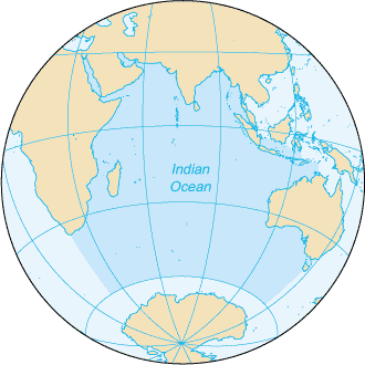 Indian Ocean - Extent of the Indian Ocean according to The World Factbook
