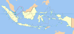 The Indonesian province of Riau Islands (circled in red)