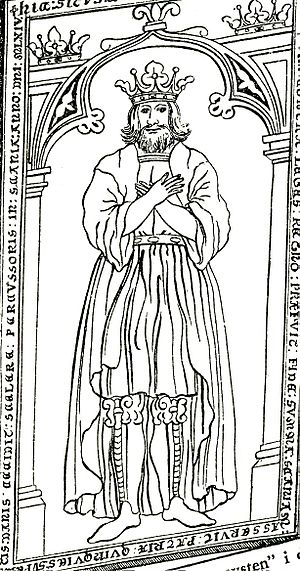Inge the Elder - Drawing by Erik Dahlberg of the gravestone on King Ingi's cenotaph at Varnhem Abbey