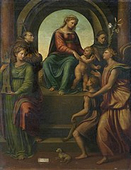 Madonna and Child, with Sts Barbara, Francis, Dominic, Archangel Raphael and Tobias