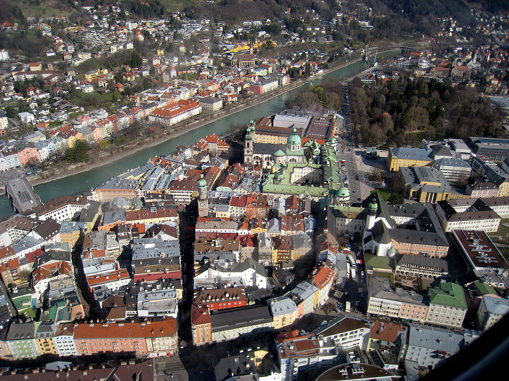 Innsbruck aerial view of the old city