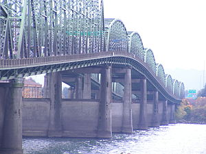 Interstate 5 in Oregon - Interstate Bridge crossing the Columbia River towards Oregon