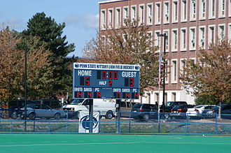 Penn State Nittany Lions field hockey - The scoreboard at the Penn State Field Hockey Complex