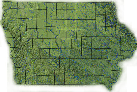 Topography of Iowa, with counties and major streams Iowa topography.jpg