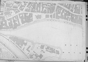 Ipswich Dock - Map showing the quays to the north and east of the dock and part of the New Cut - 1884