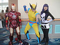 Iron Man, Wolverine, Lady Punisher cosplayers.jpg