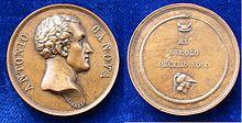 Antonio Canova Medaille von Putinati Anfang 19. Jahrhundert (Quelle: Wikimedia)