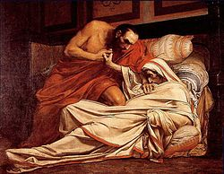 The Death of Tiberius by Jean-Paul Laurens, depicting the Roman emperor about to be smothered under orders of Naevius Sutorius Macro.