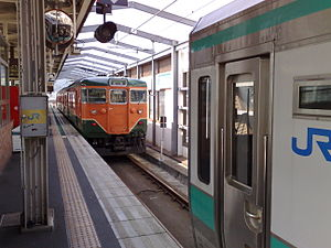 Higashi-Maizuru Station - Two trains sharing the same track at Higashi-Maizuru Station