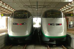 Yamagata Shinkansen - E3-2000 series (left) and E3-1000 series (right) at Shinjō