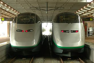 Yamagata Shinkansen - E3-2000 series (left) and E3-1000 series (right) at Shinjō