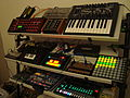 Jam session - MFB Nanozwerg, Access Virus A, TT-303, Dark Energy II, Minibrute, Kaoss Pad mini, Volca Bass, MFB Synth Lite, x0xb0x, TB-3, Midisport 4x4, Volca Keys, LaunchPad, Alto GHIBLI 16FX, Electribe MX, TR-8, Kaossilator (by David J).jpg