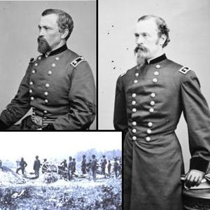 Battle of Staunton River Bridge - Clockwise from upper left: Brigadier General August V. Kautz, Brigadier General James H. Wilson, Confederate artillery firing across the river