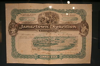Jamestown Exposition - stock certificate issued to investors in the exposition
