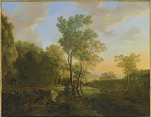An Italianate wooded landscape with travellers