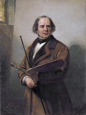 Jan Willem Pieneman - Portrait of Jan Willem Pieneman (1860) painted by his son Nicolaas Pieneman