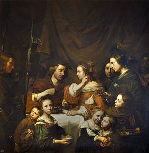 The Banquet of Cleopatra - Jan de Bray, using his own family, including himself, as models, Royal Collection, 1652