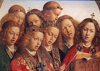 """The Fountain of Life (painting) - Detail from the """"Musical Angels"""" panel of the Ghent Altarpiece, before 1432"""