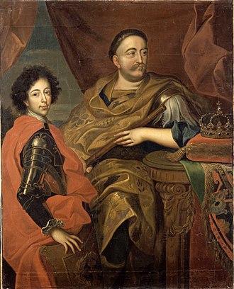 James Louis Sobieski - Portrait of James Louis Sobieski with his father, c. 1680s by Jan Tricius
