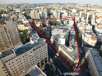 Downtown Triangle (Jerusalem) - Aerial view of Jerusalem's Downtown Triangle.