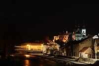 Jihlava River at christmas night 2010, jewish quarter in Třebíč, Třebíč District.jpg