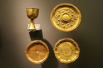 Jin dynasty (1115–1234) - Chinese gold plates and a chalice from the Jin Dynasty's Zhongdu.