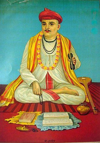 Marathi literature - Dnyaneshwar as imagined  by the Ravi Varma press