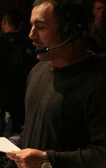 Comedian Joe Rogan broadcasting as color commentator at UFC Fight Night™ 7