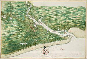 João Pessoa, Paraíba - Map of Frederikstadt by Johannes Vingboons (1665).