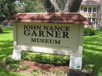 John Nance Garner - Image: John Nance Garner Museum sign IMG 4279