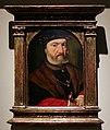 Joos van cleve, ritratto di uomo barbuto con cappello nero, pelliccia, e tenente un pugnale, 1515-17 ca.jpg