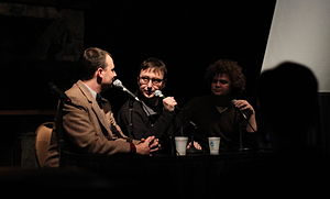 Jordan, Jesse, Go! - Jordan (right) and Jesse (left) with John Hodgman (center) during a live taping at MaxFunCon