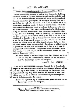 "Joseph Aspdin - Patent nr. BP 5022, ""An Improvement in the Modes of Producing an Artificial Stone"", Joseph Aspdin, 21 October 1824, page 2/2"