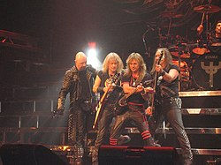 Judas Priest onstage in Moline, Illinois.