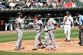 Justin Upton, JD Martinez, Right fielder, and Victor Martinez, DH, congratulate Justin Upton after 3-Run homerun, Left Fielder for Detroit Tigers, 2016-09-07 versus Chicago White Sox second shot.jpg