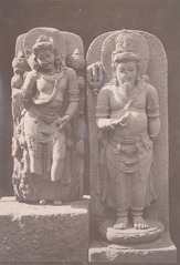 KITLV 87709 - Isidore van Kinsbergen - Hindu-Javanese sculptures, including at the right a sculpture of Shiva, from the Dijeng plateau - Before 1900.tif