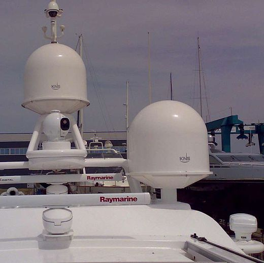 A yacht fitted with small KNS tracking dishes for SES Broadband for Maritime, protected by radomes KNS radomes.jpg
