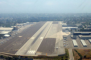 Santa Monica Airport - Approaching Santa Monica Airport from the east