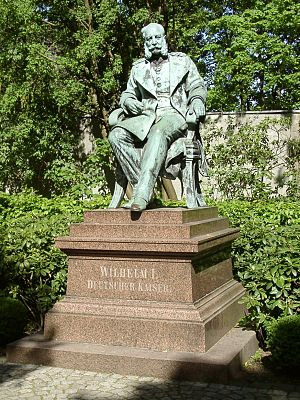 Emperor William monuments - Statue of Emperor William, seated, in Dortmund's Westfalenpark