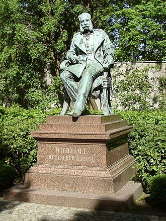 Emperor William monuments - Statue of Emperor William, seated, in Dortmund's Westfalenpark