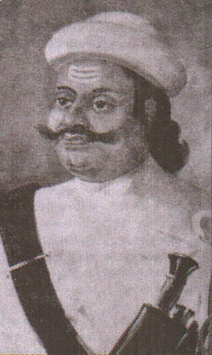 Chhetri - Kalu Pande wearing Khukuri, leading Pande military officer