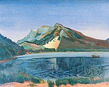 At Lake Haruna in 1940 Kanae suffered a stroke that ended his career.Painting of a lake with mountains in the background