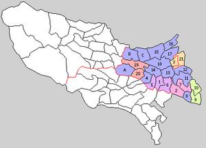 Kitatama District, Tokyo - Image: Kanagawa Kita Tama gun 1889