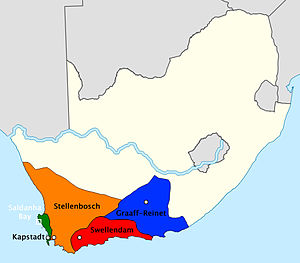 Graaff-Reinet - Boer republic of Graaf-Reinet (blue) and other Dutch territories around 1795