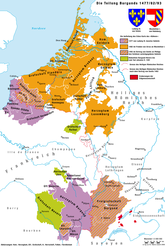 The division of Burgundy between France and Habsburg in 1477, 1482 and 1493